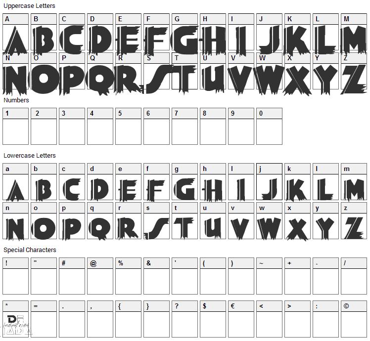 Grauman Font Character Map