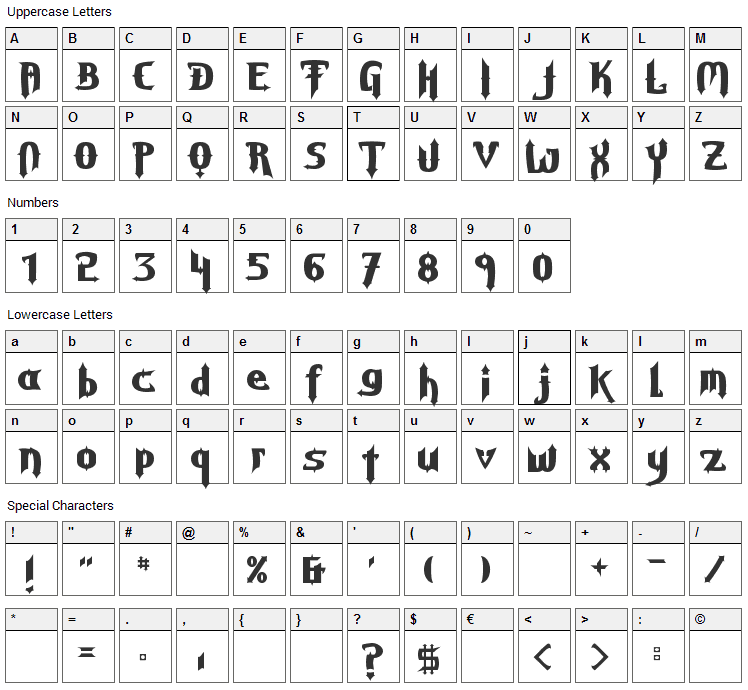 Grave Digger Font Character Map
