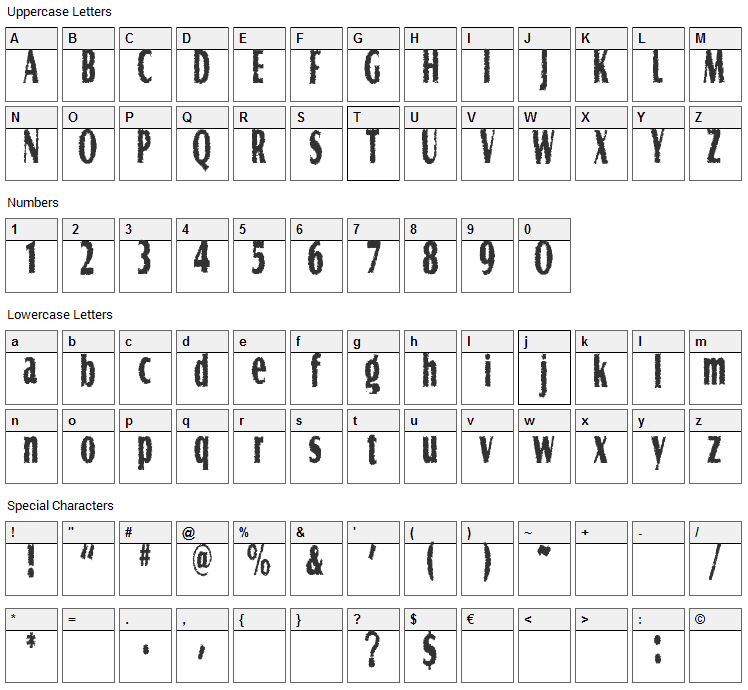 Graveyard Shift Font Character Map