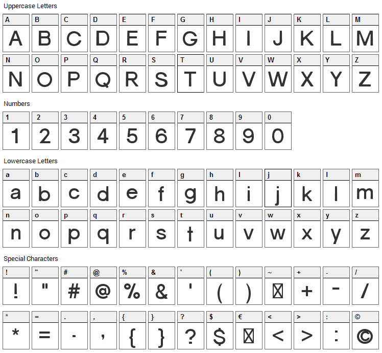Gravity Font Character Map