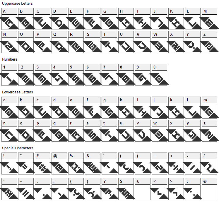 Graze Font Character Map