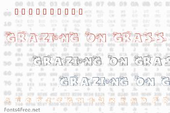 Grazing on grass Font
