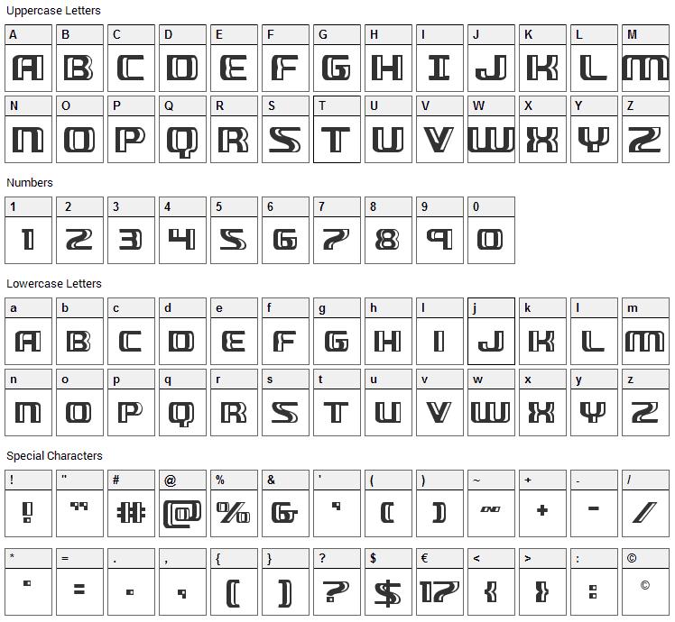 Grease Gun Font Character Map