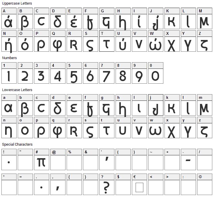Grecian Formula Font Character Map