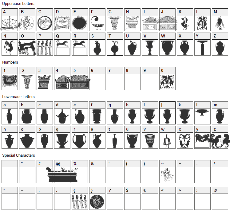Greek Art Font Character Map