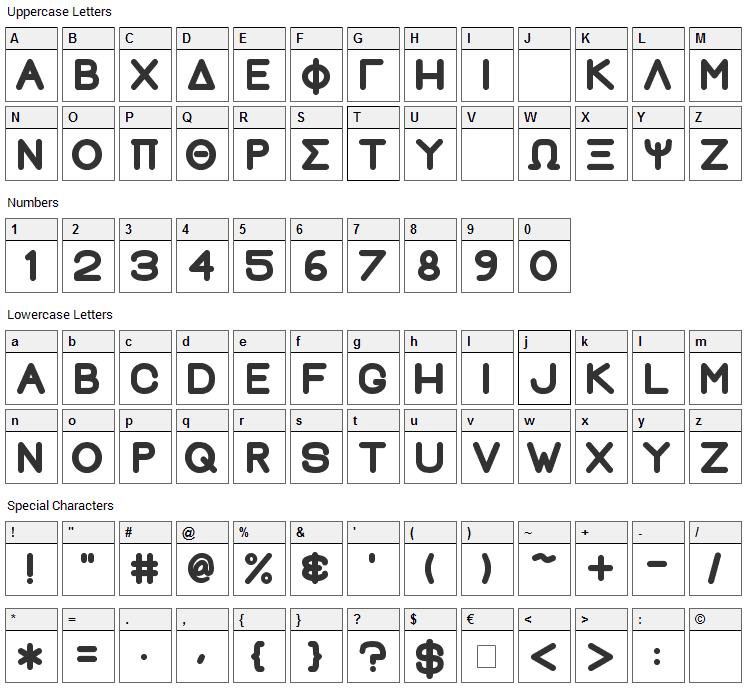 Greek House Fat Font Character Map