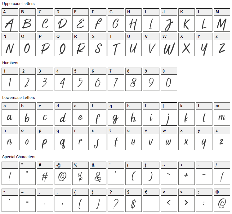 Green Bee Font Character Map