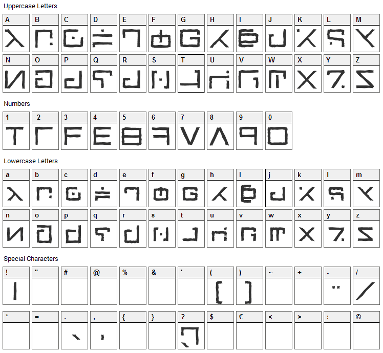 Green Martian Font Character Map
