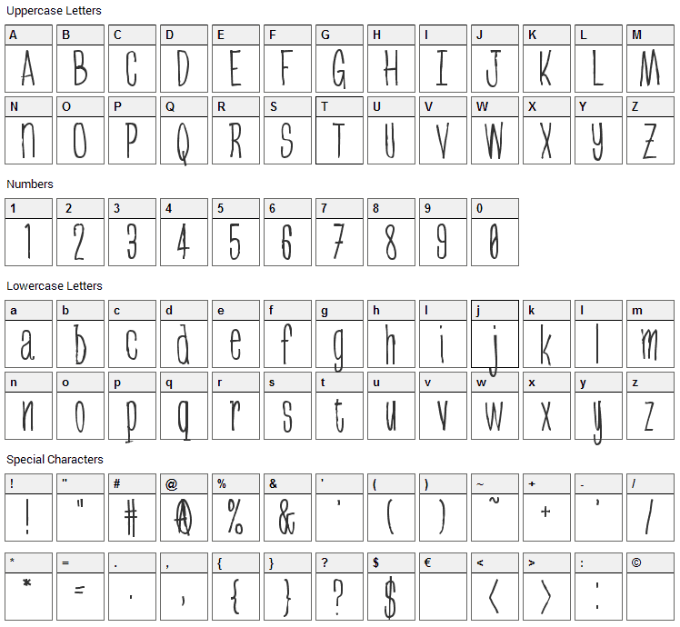 Greenbeans Font Character Map