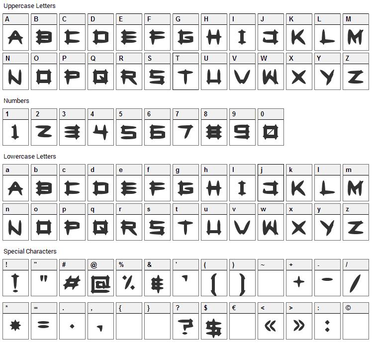 Greghor II Font Character Map