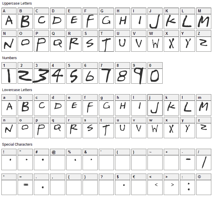 Gregor Millers Friends Font Character Map