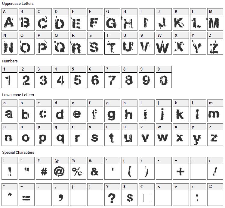Gregphix Font Character Map