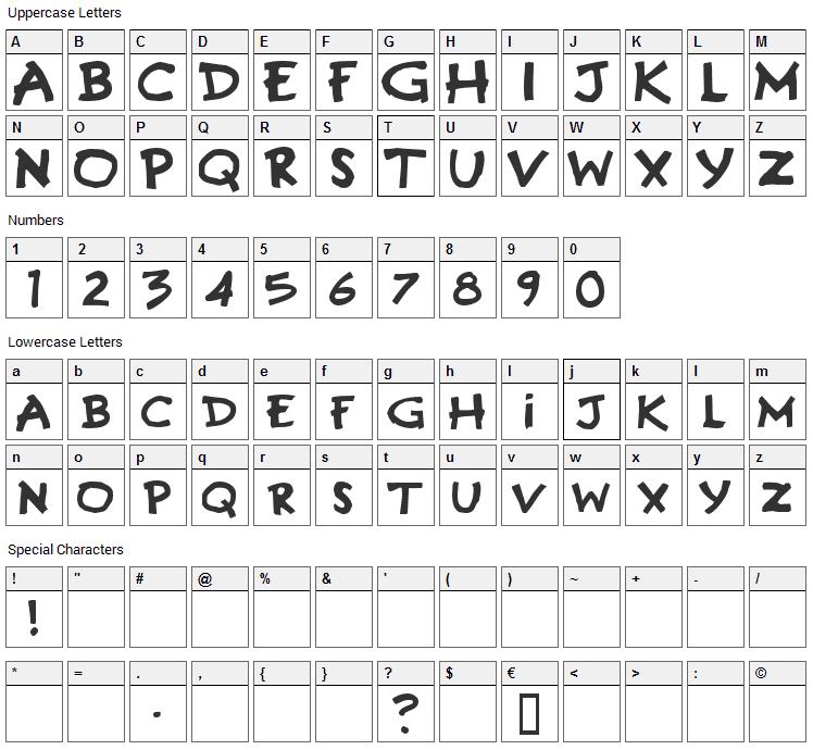 Gremlins Font Character Map
