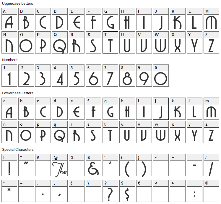 Grenadier Font Character Map
