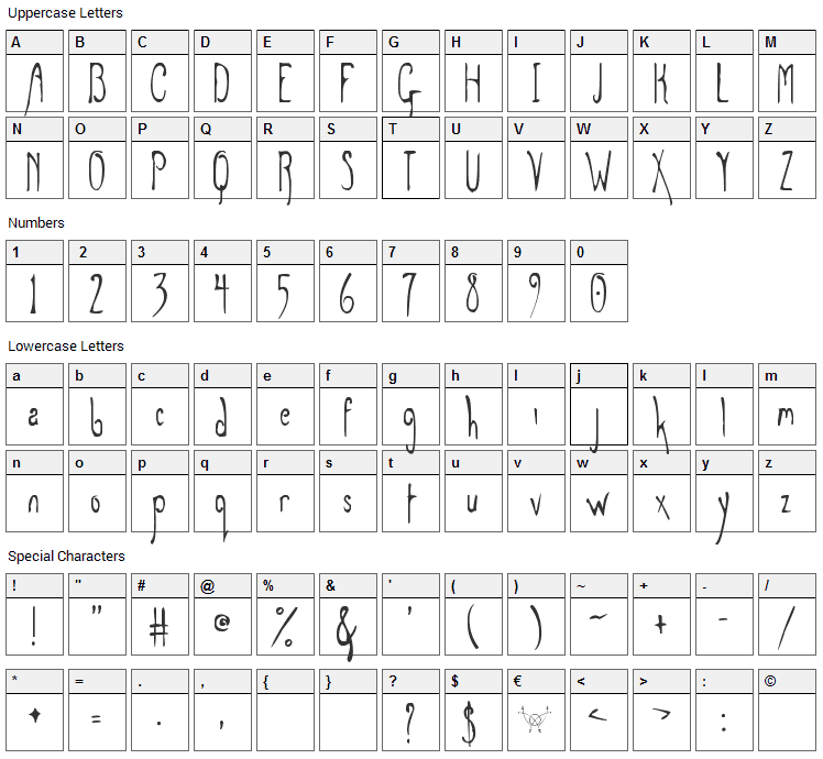 Grey Magus Font Character Map