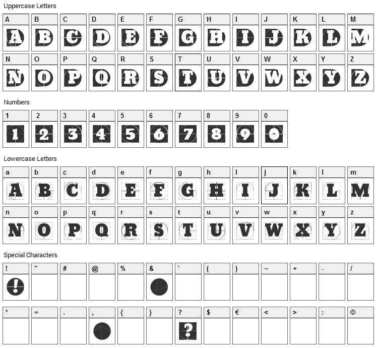 Grid Concrete Font Character Map