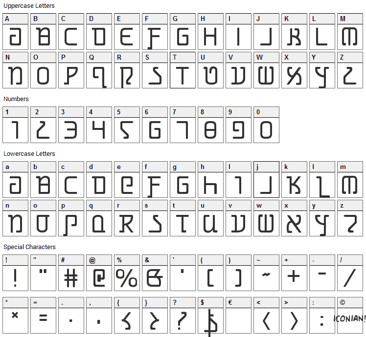 Grimlord Font Character Map