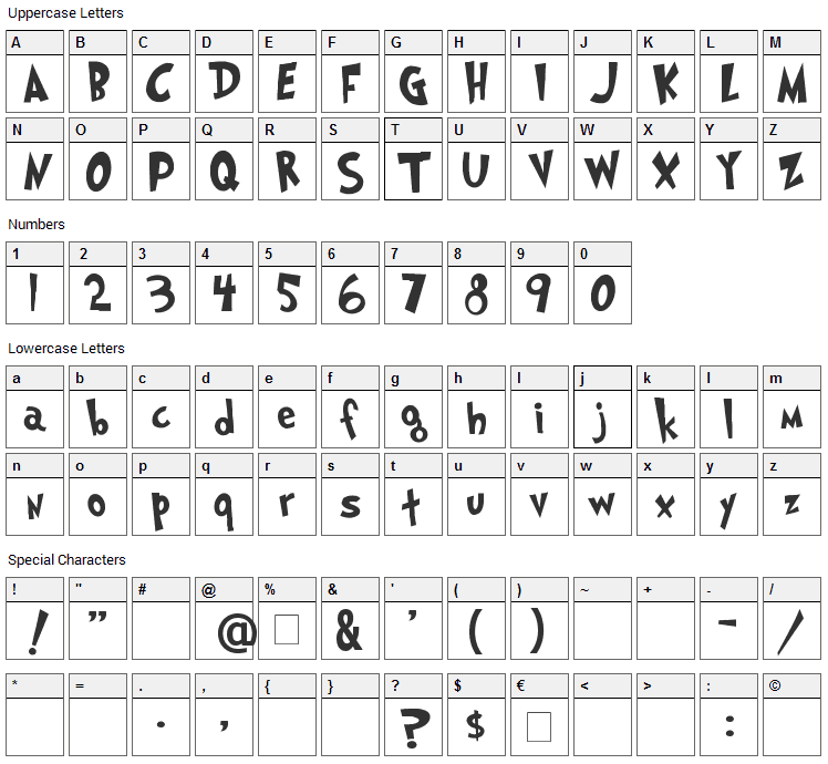 Grinched Font Character Map