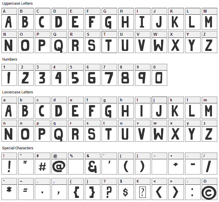 Grind Zero Font Character Map