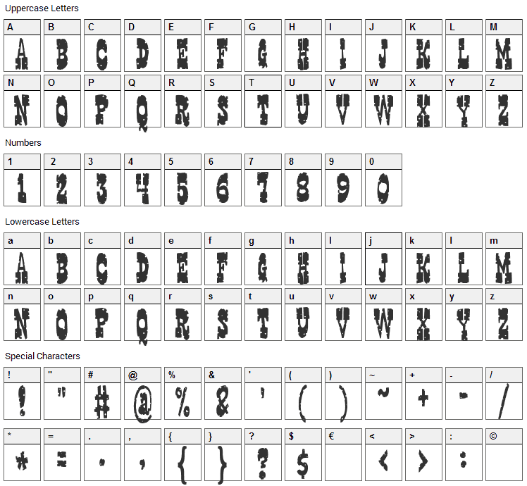 Gringo Nights Font Character Map