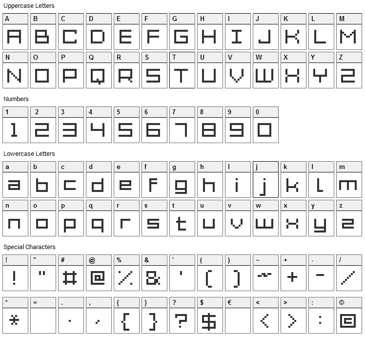 Grixel Acme 7 Wide Font Character Map
