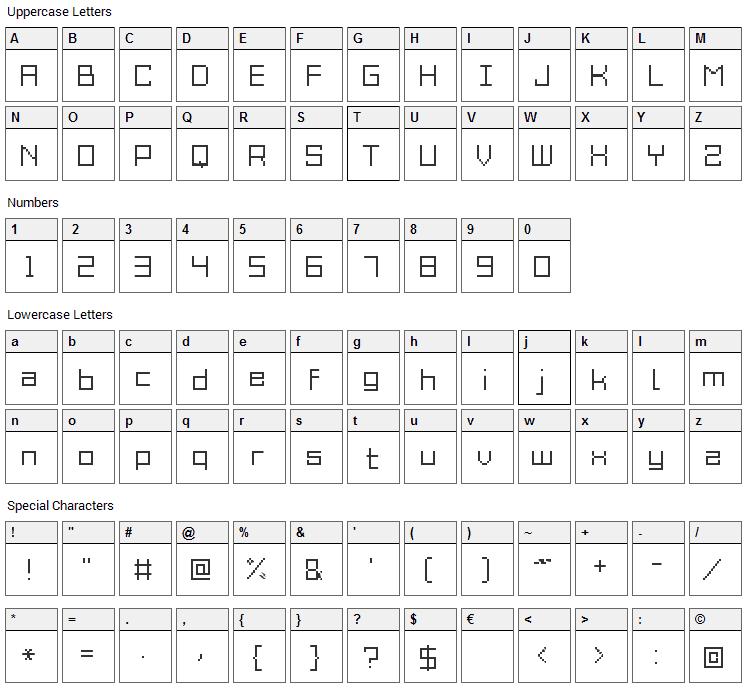 Grixel Acme 9 Font Character Map