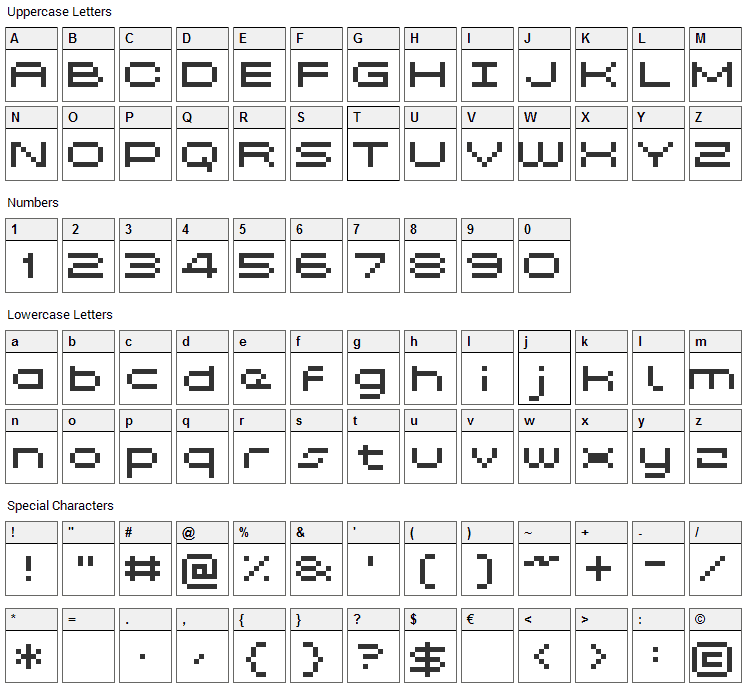 Grixel Kyrou 5 Wide Font Character Map