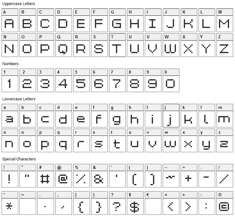 Grixel Kyrou 7 Wide Font Character Map