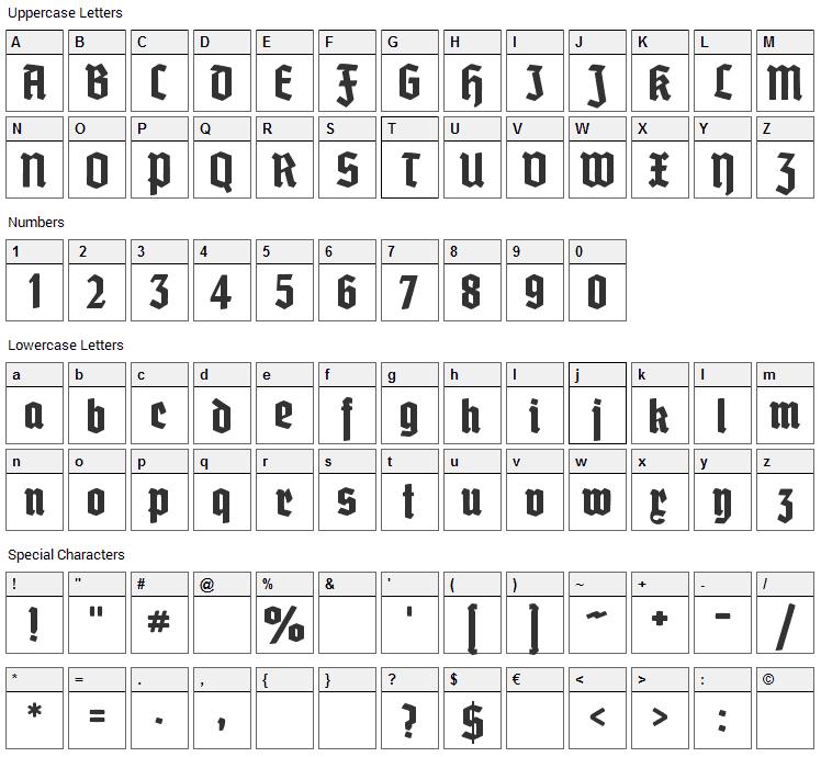 Grobe Deutschmeister Font Character Map