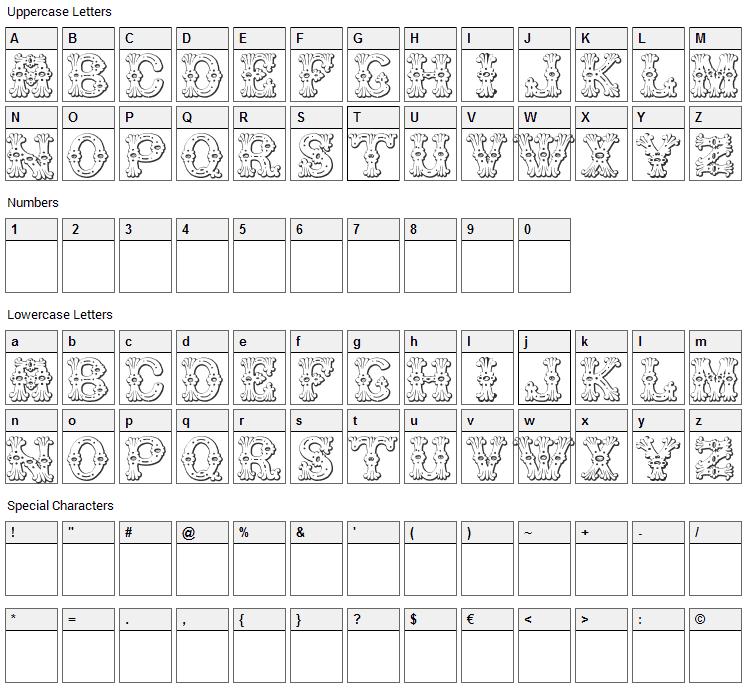 Grolier Font Character Map
