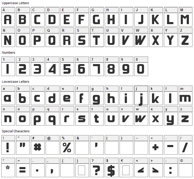 Groovy Fast Font Character Map