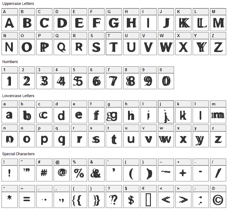 Gross Akzident Fucked Font Character Map