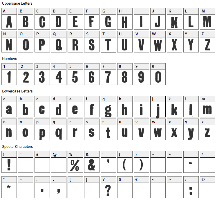 GrotRough Font Character Map