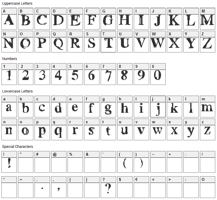 Grotto Font Character Map