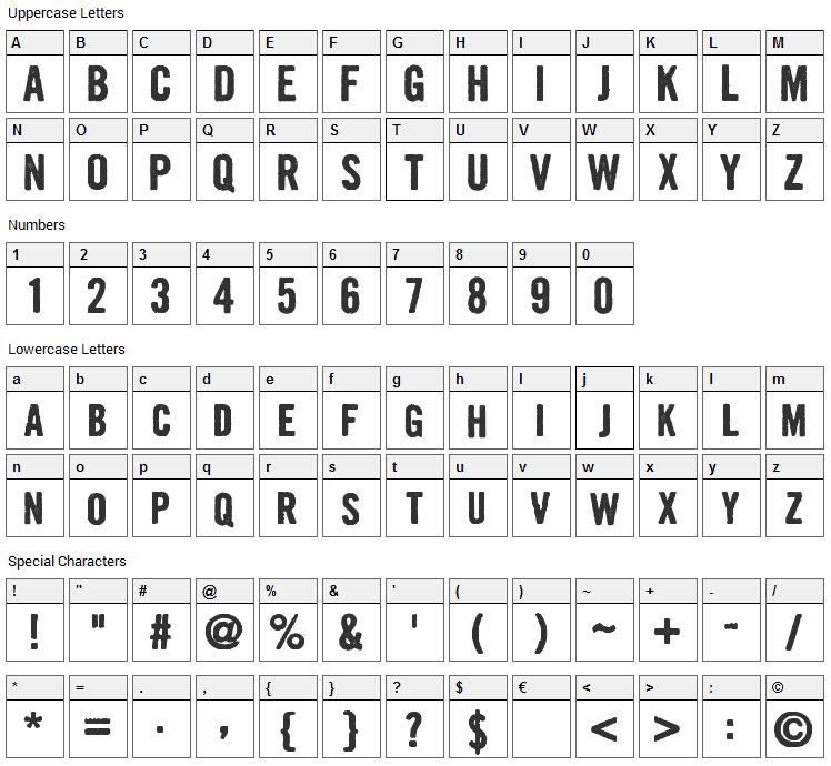 Growly Grin Font Character Map