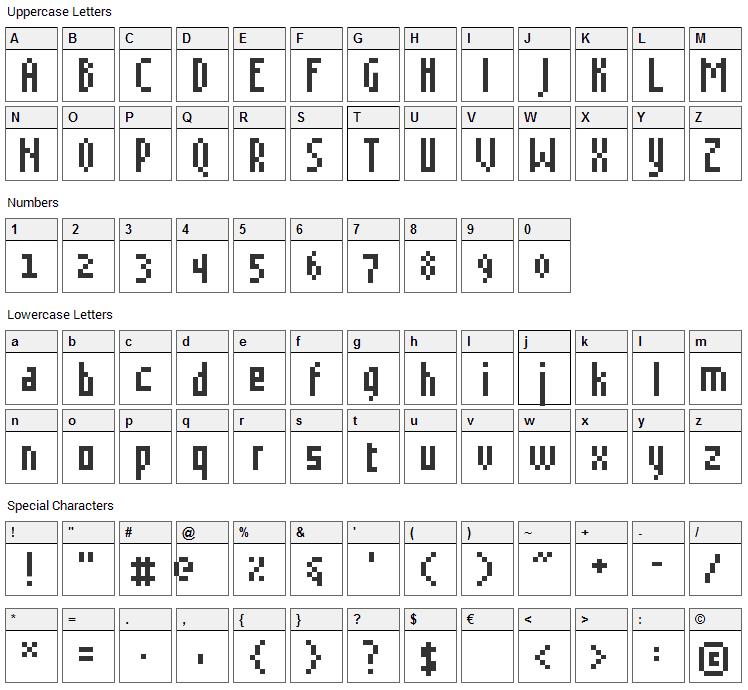 Grudblitter Font Character Map
