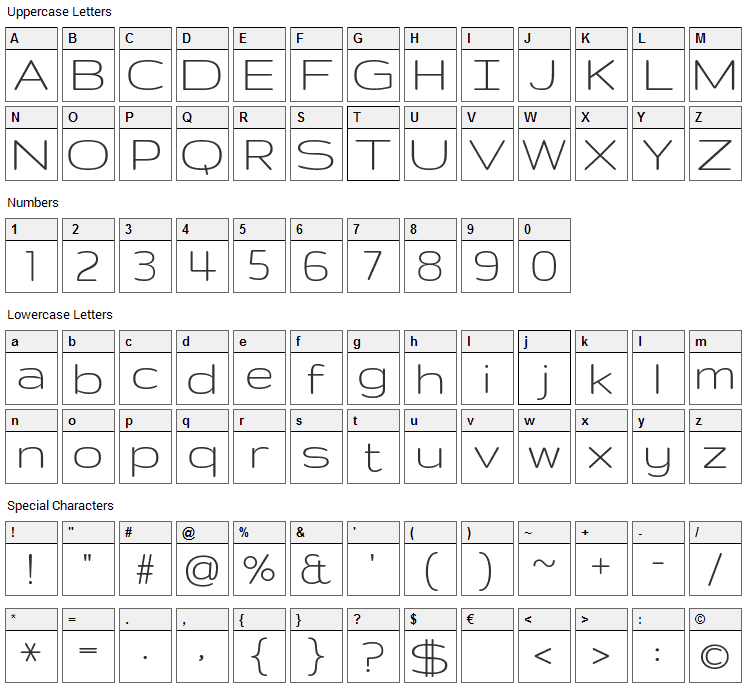 Gruppo Font Character Map