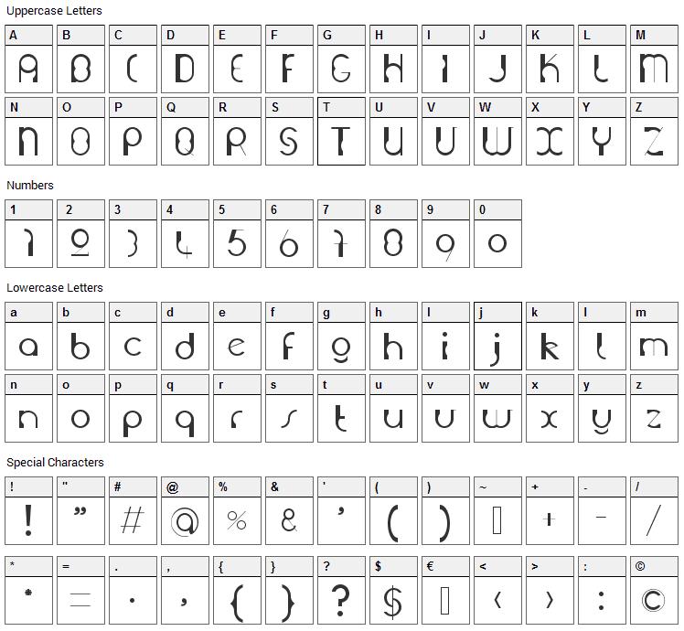 Grutch Construkt Font Character Map