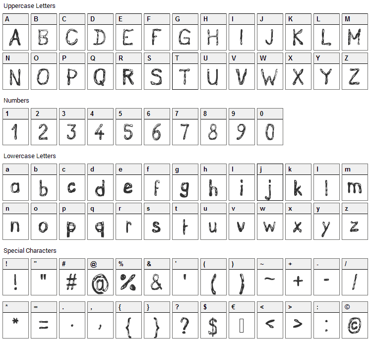 Grutch Handed Font Character Map