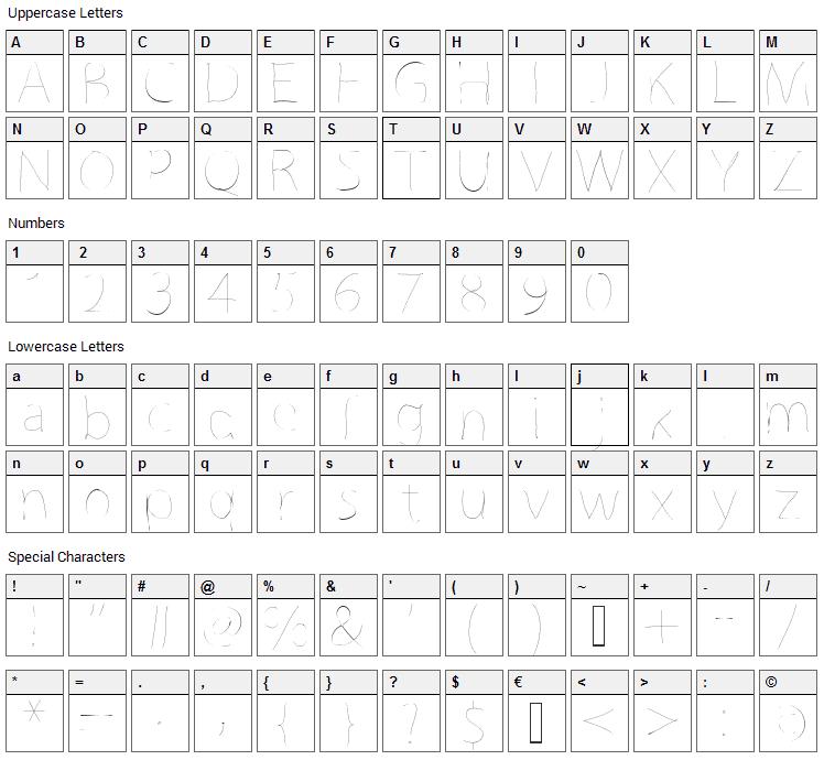 GrutchLine Font Character Map