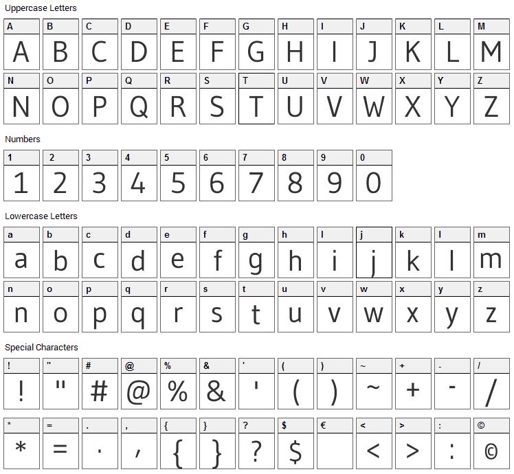 Gudea Font Character Map