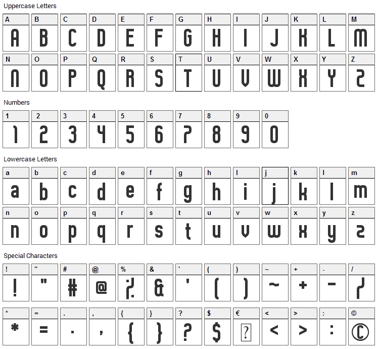 Guilty Treasure Font Character Map