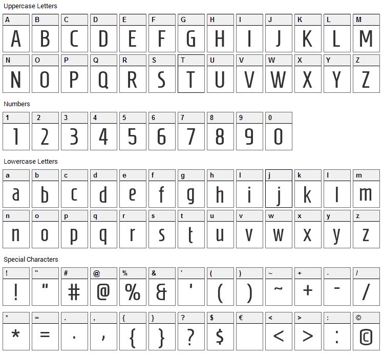 Gun Gale Online Font Character Map