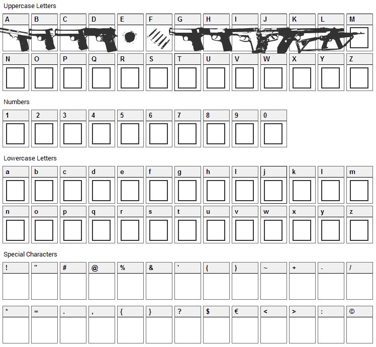 Gunbats Font Character Map