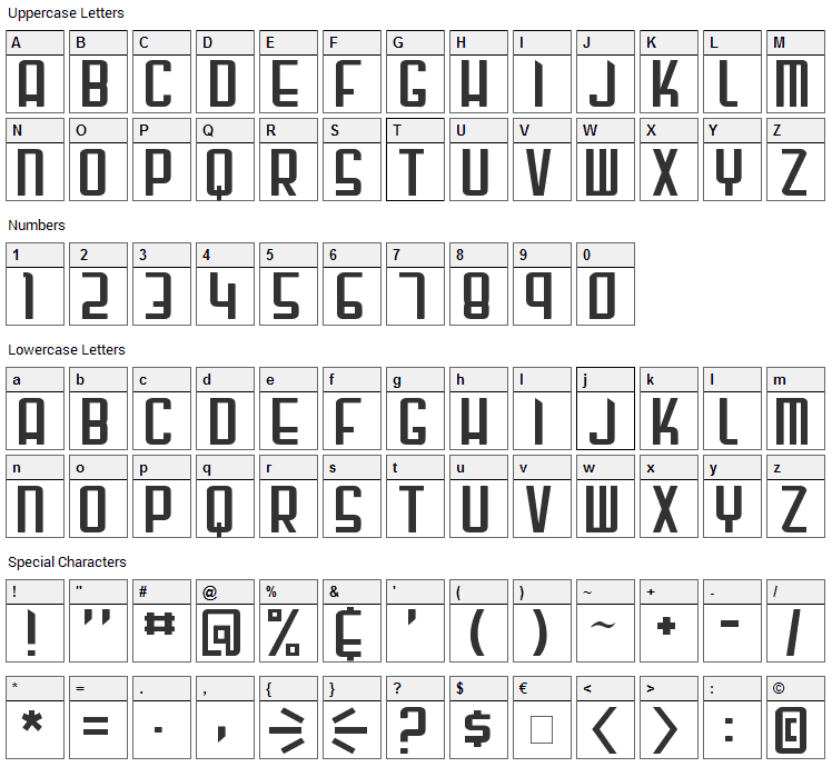 Gunblade Font Character Map