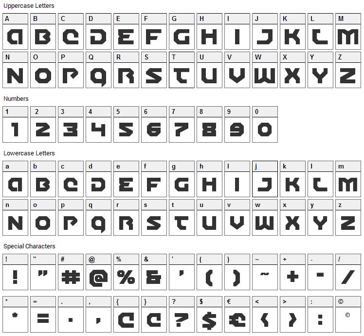 Gunner Storm Font Character Map