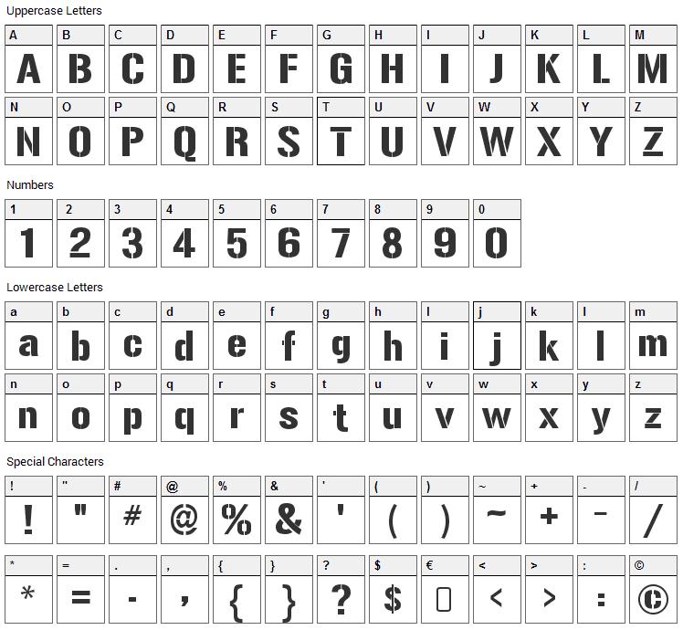 Gunplay Font Character Map