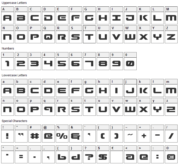 Gunship Font Character Map
