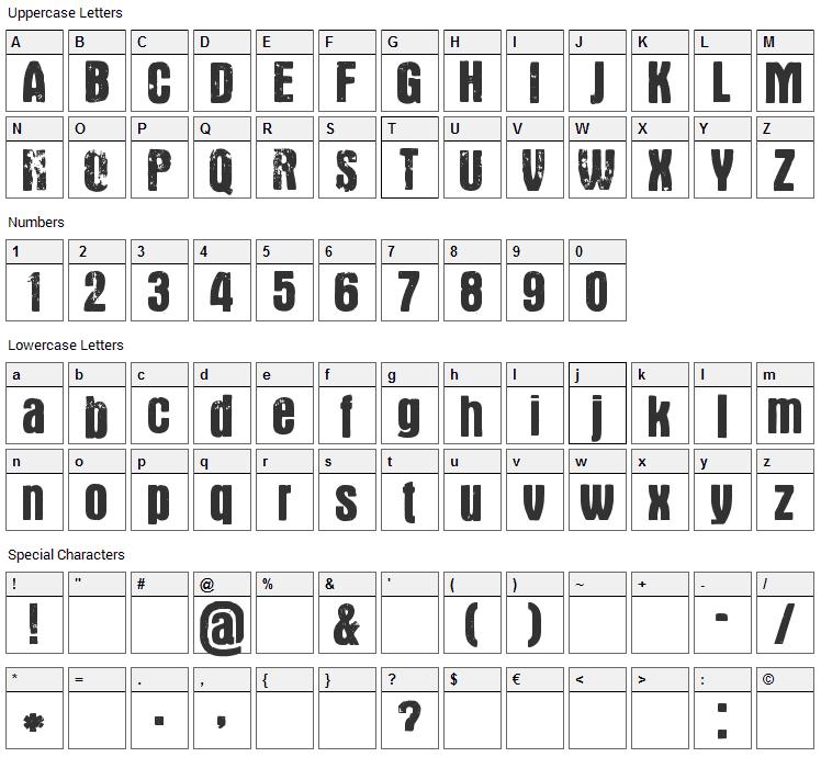 Gustav Font Character Map