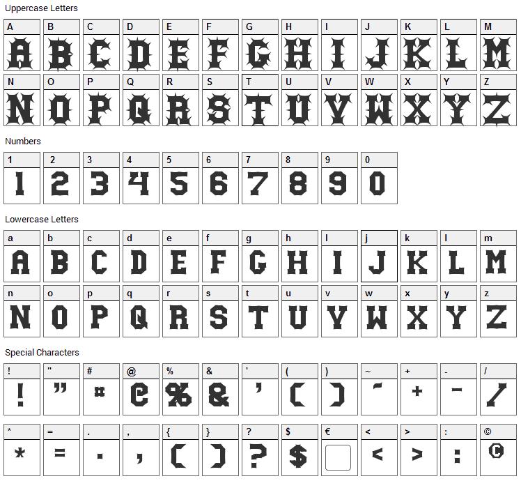 Gutcruncher Font Character Map